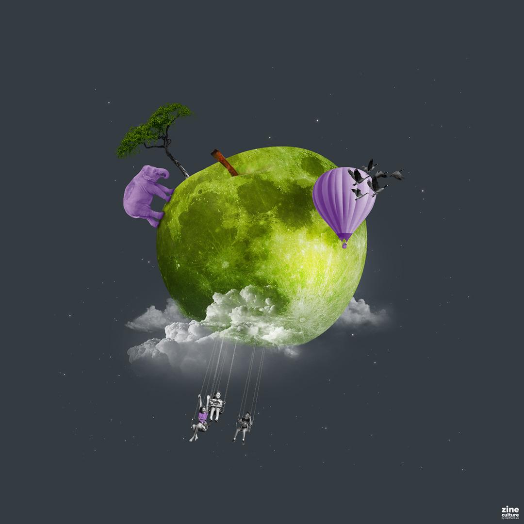 AppleMoon Collage Art
